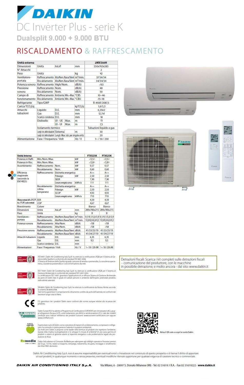 Condizionatore daikin dc serie k dual split 9000 9000 - Unita esterna condizionatore dimensioni ridotte ...