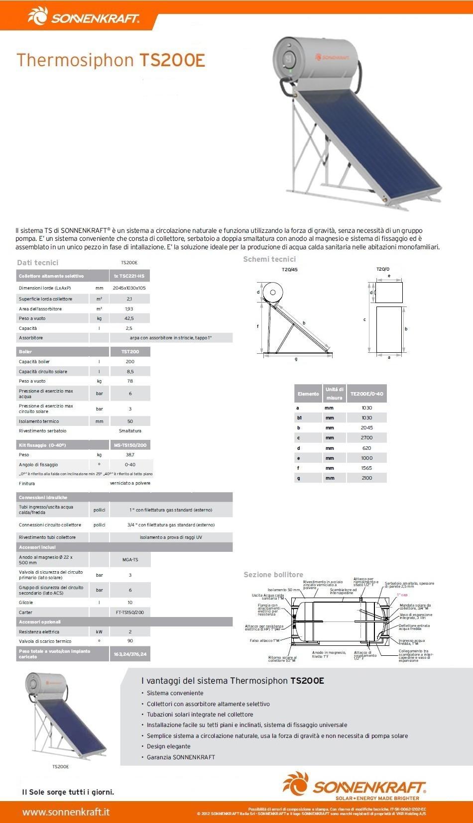 Pannello Solare Termico Sonnenkraft : Pannello solare termico circolazione naturale sonnenkraft