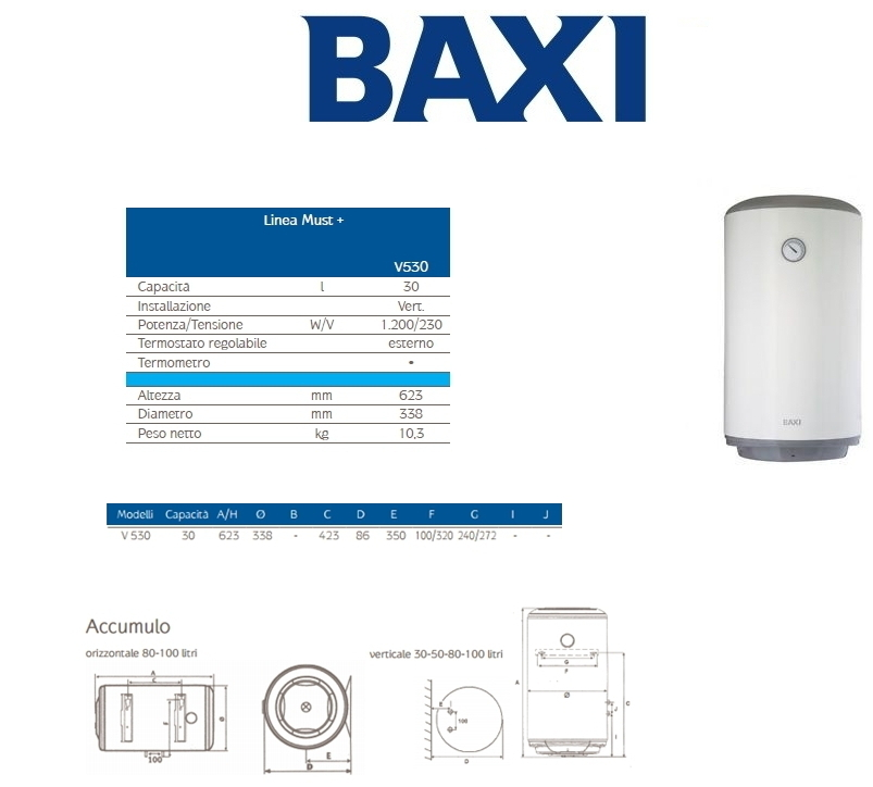 Scaldabagno elettrico linea must baxi v530 30 litri 5 - Scaldabagno elettrico 30 litri ...