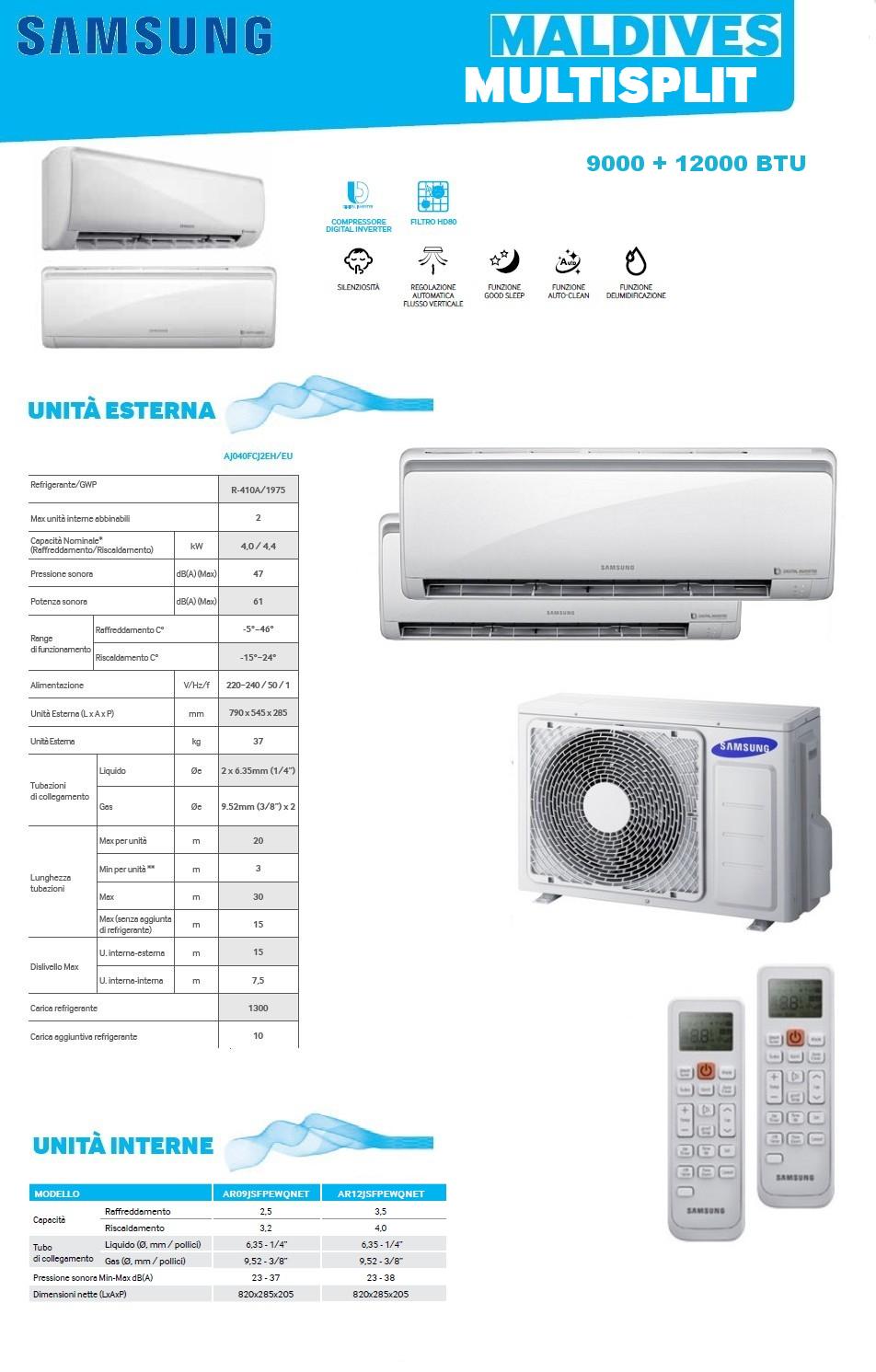 Condizionatore samsung maldives dual split 9000 12000 - Unita esterna condizionatore dimensioni ridotte ...