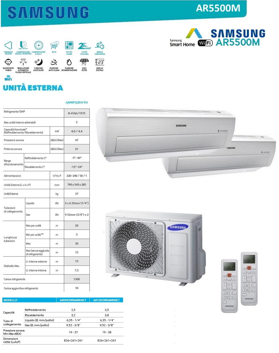 Condizionatore samsung ar5500m dual split 9000 12000 btu - Unita esterna condizionatore dimensioni ridotte ...