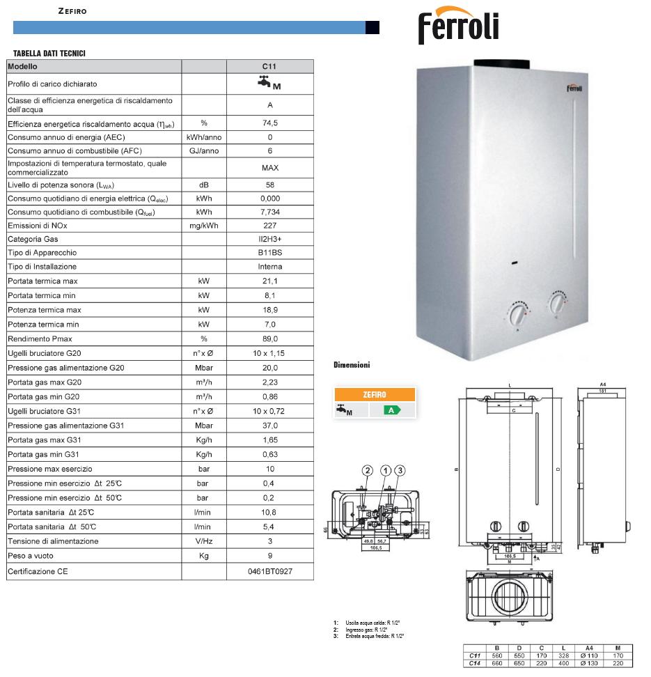 Scaldabagno istantaneo a gas ferroli zefiro c11 camera - Installazione scaldabagno a gas normativa ...