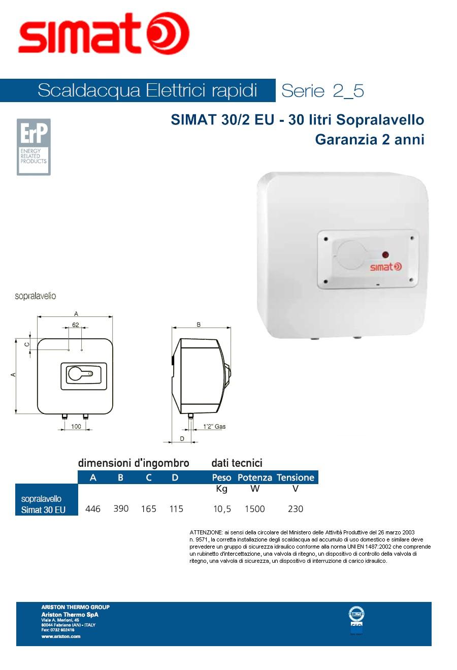 Scaldabagno elettrico simat by ariston 30 litri rapido sopralavello garanzia 2 anni climamarket - Scaldabagno elettrico 30 litri ...