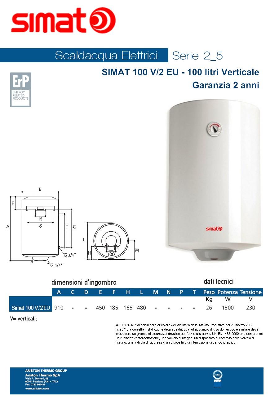 Scaldabagno elettrico simat by ariston 100 litri verticale garanzia 2 anni climamarket - Installazione scaldabagno elettrico ...