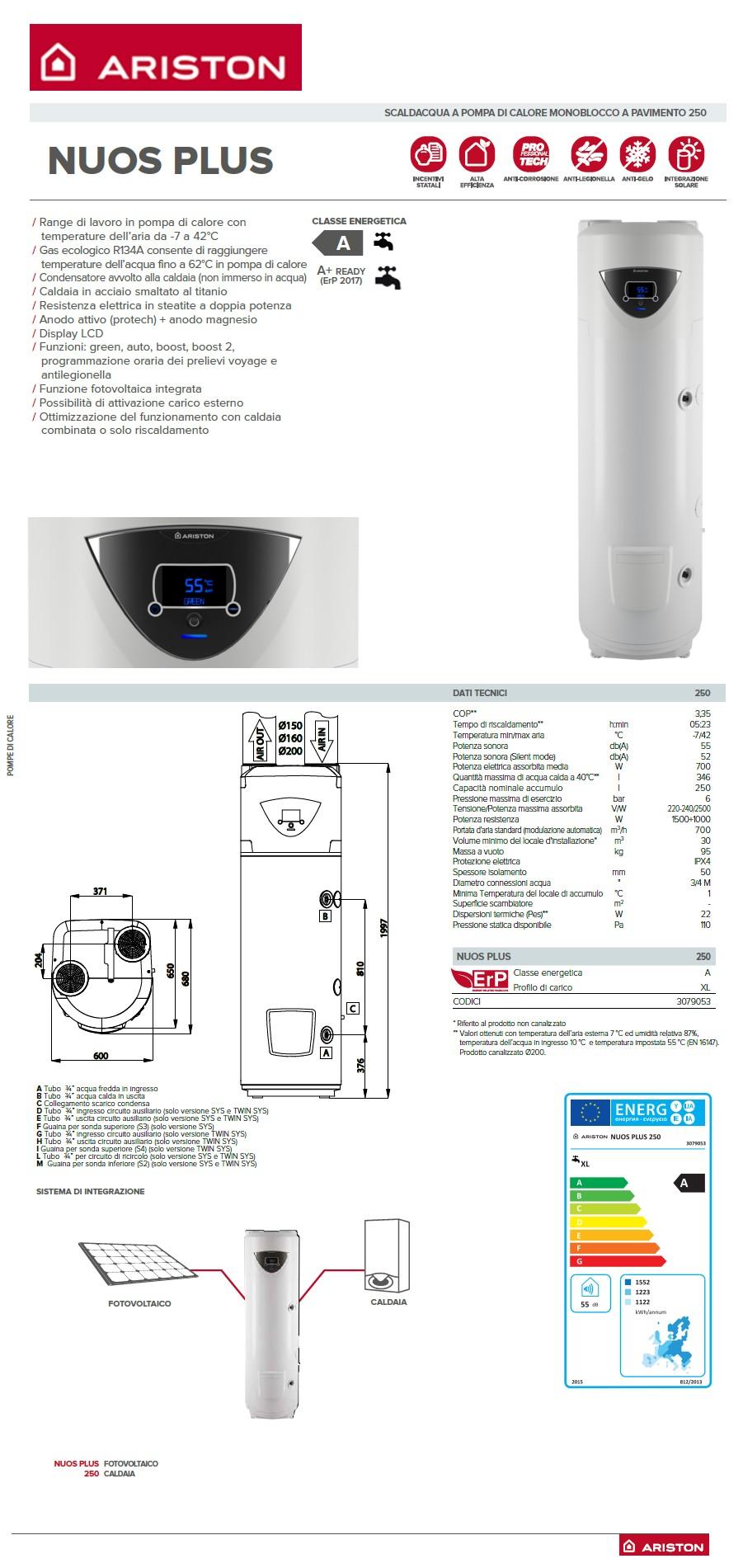 Pompa Di Calore Ventilconvettori scaldabagno pompa di calore nuos plus 250 ariston 250 litri