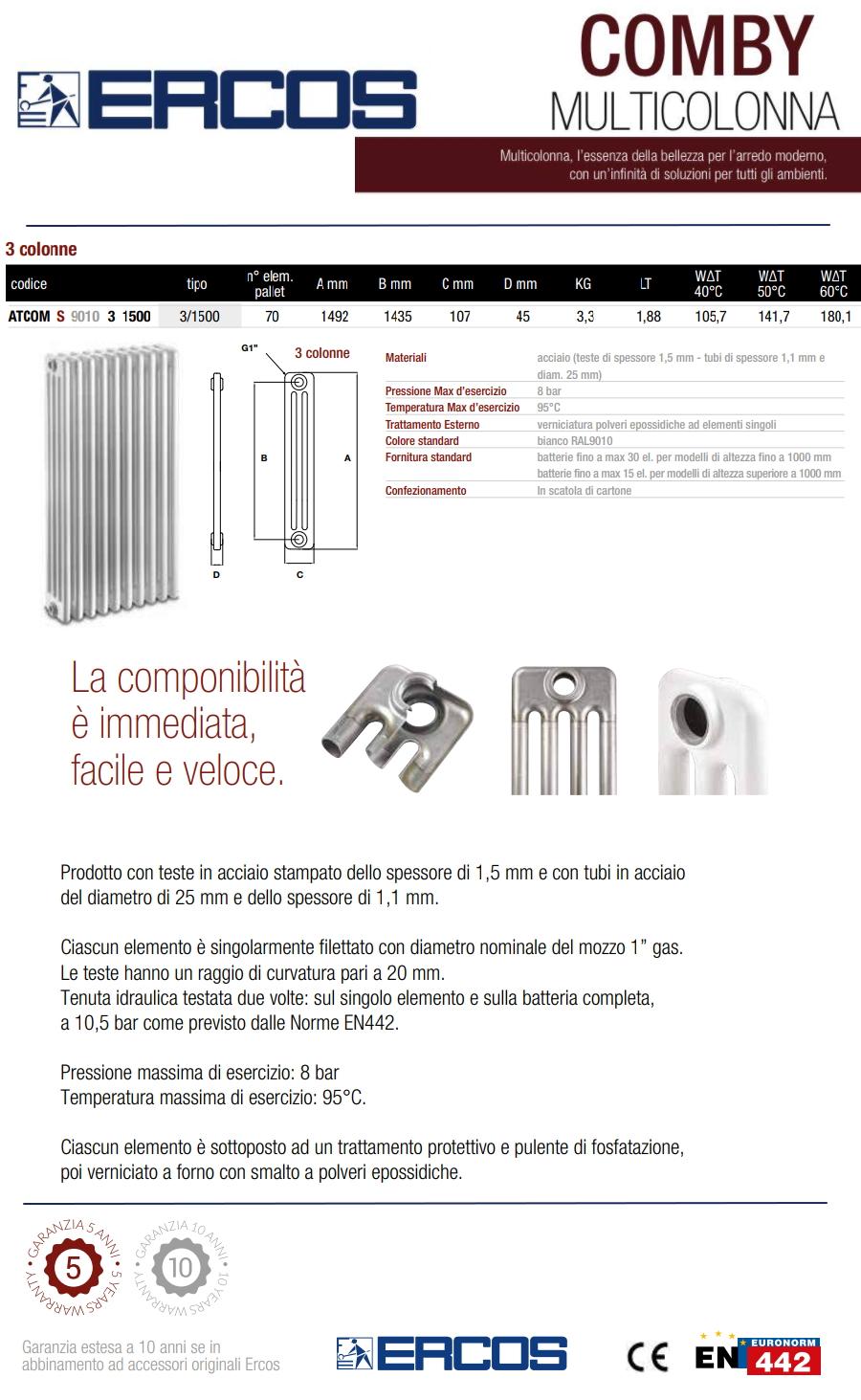 Radiatore a colonna in acciaio ercos comby 5 elementi 3 for Ercos termosifoni