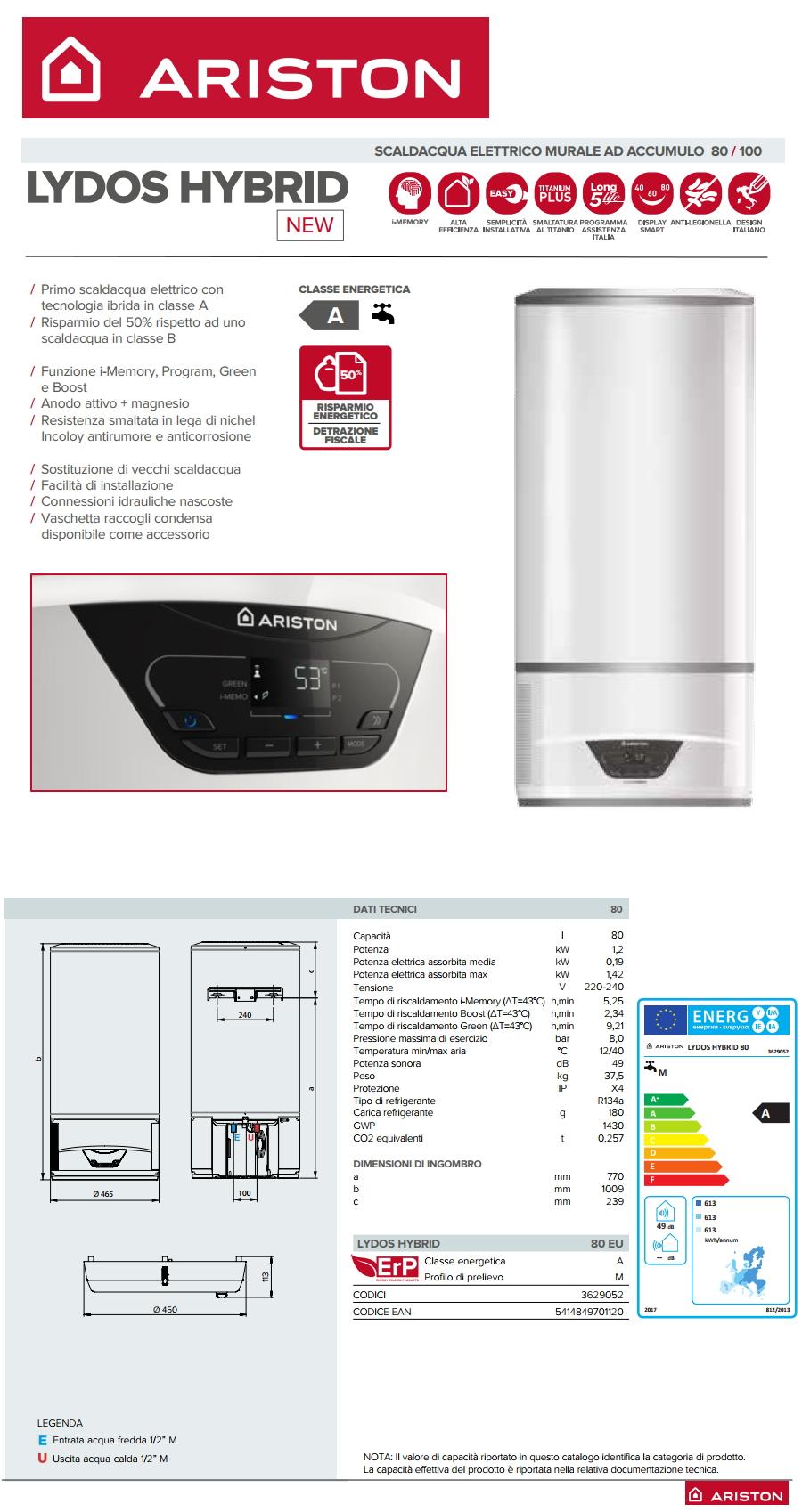 Scaldabagno elettrico e pompa di calore ibrido lydos hybrid 80 ariston 80 litri climamarket - Scaldabagno pompa di calore ariston ...