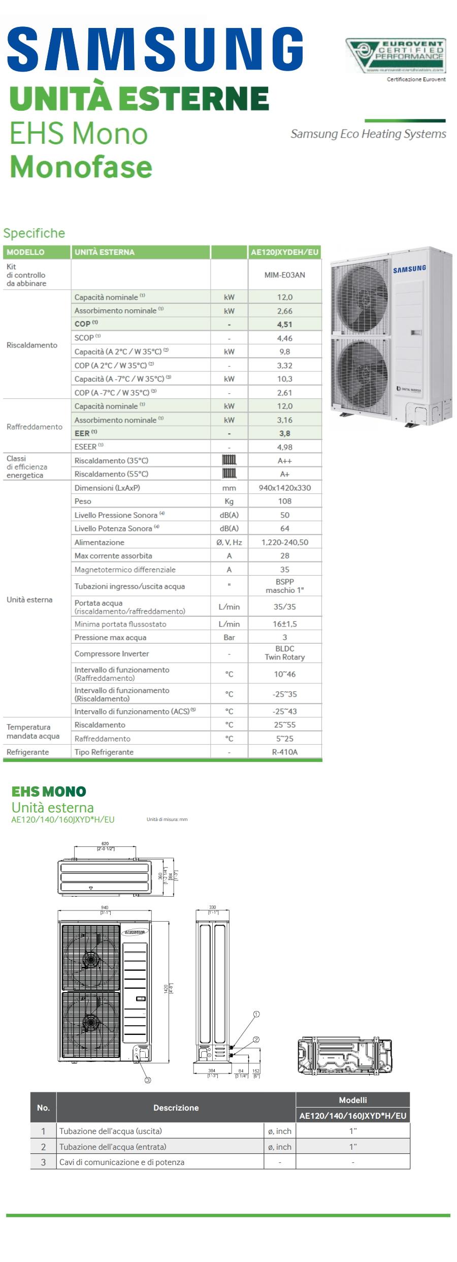 Pompa Di Calore Ventilconvettori pompa di calore samsung ehs 12 kw senza modulo idronico