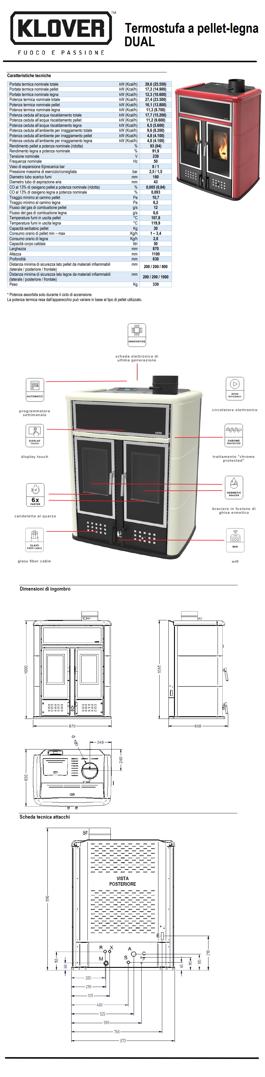 Stufa a pellet e legna klover dual acs 27 4 kw idro kit for Mito idro edilkamin scheda tecnica
