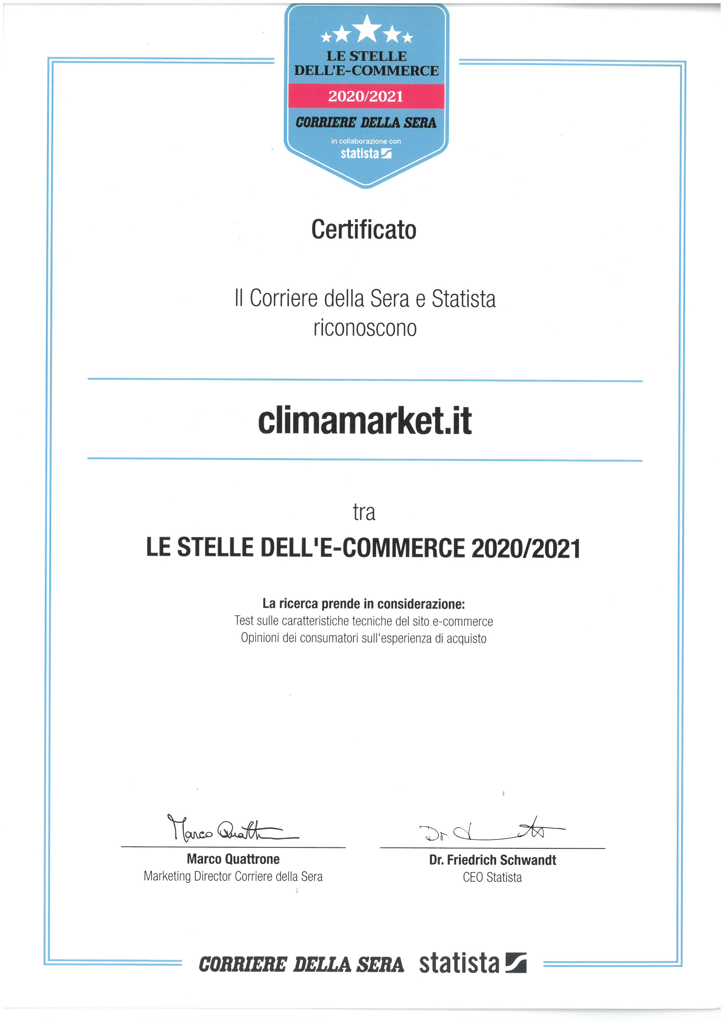 Climamarket: Tra Le Stelle Dell'e-Commerce 2020-2021