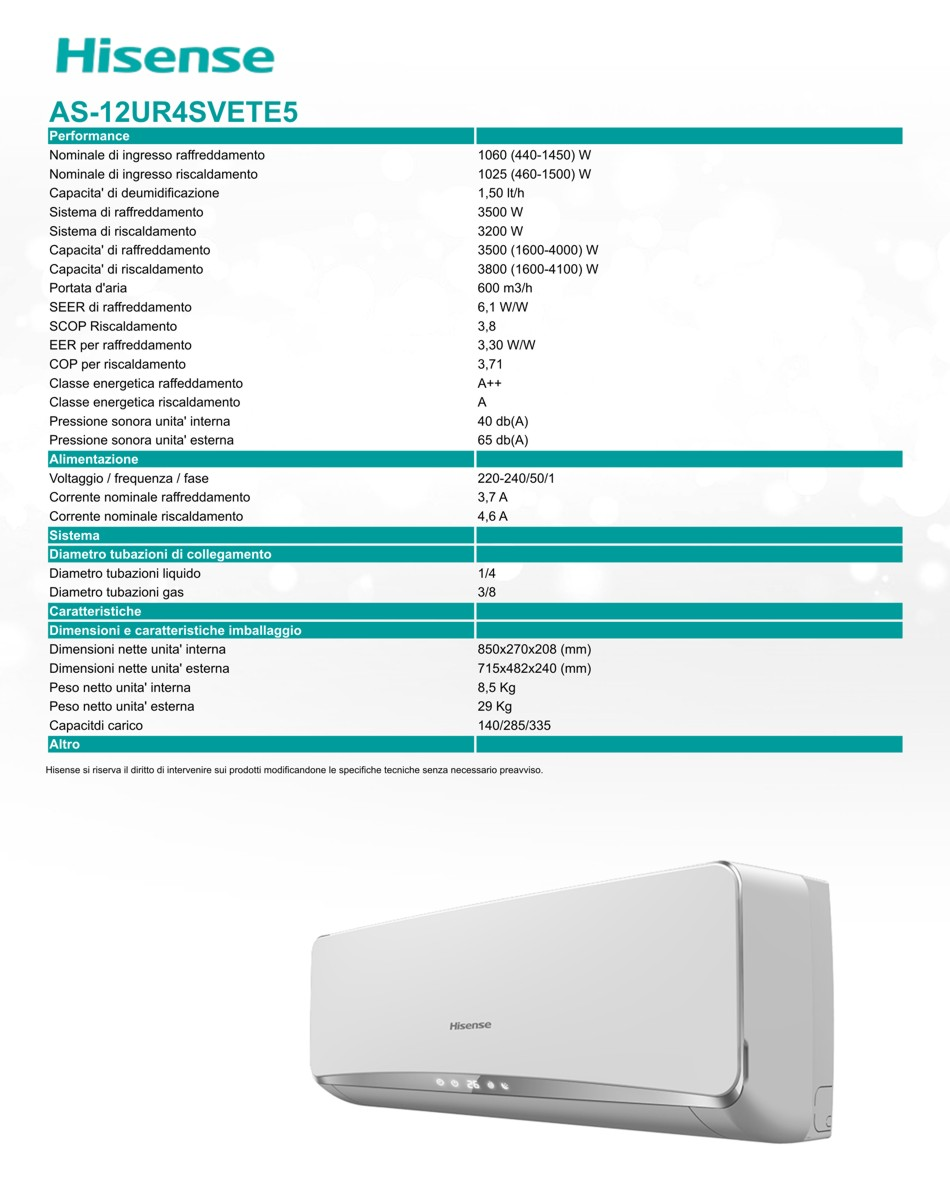 Condizionatore hisense serie easy:Smart 120btu inverter a